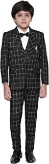 Jeet Creation Boys Black Coat Suit with Waistcoat, Shirt, Bow and Trouser Set (9048ER)