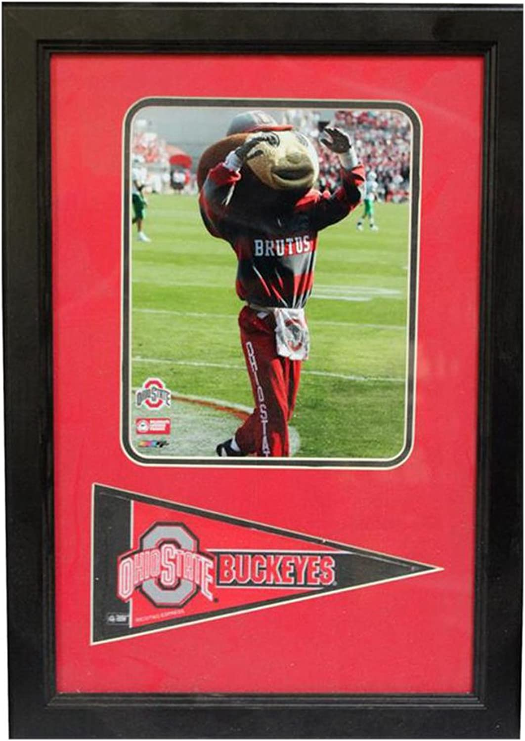 Encore Select 11430 NCAA Ohio State Buckeyes Framed Ohio State University Print and Pennant Flag, 12Inch by 18Inch
