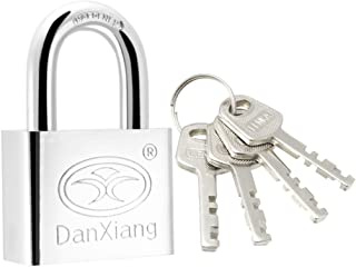 uxcell® Stainless Steel Padlock, 50mm Body Wide Chrome Finish Harden Shackle Keyed Different