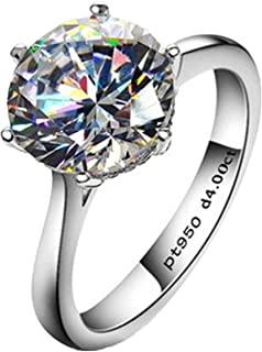Erllo 4ct Round Brilliant Nscd Sona Simulated Diamond Solitaire Wedding Engagement Ring - Finger...
