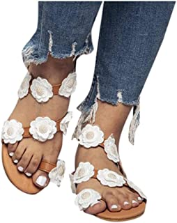 Baiggooswt Womens Fashion Flowers Beaded Gladiator Sandals Flip Flops Slip-On Peep Toe Flats Large Size Beach Shoes
