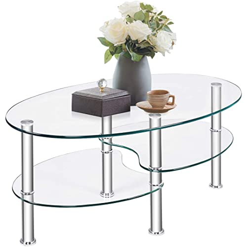 Amazon Com Tangkula Glass Coffee Table Modern Furniture Decor 2 Tier Modern Oval Smooth Glass Tea Table End Table For Home Office With 2 Tier Tempered Glass Boards Sturdy Chrome Plated Legs Kitchen