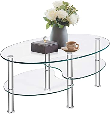 TANGKULA Glass Coffee Table, Modern Furniture Decor 2-Tier Modern Oval Smooth Glass Tea Table End Table for Home Office with