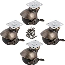 Adiyer [4 Pack] Furniture Ottoman Swivel Top Plate 2-inch Hooded Ball Caster Wheel, Antique Bronze (with Brake)