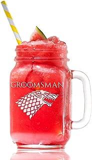 Stark Groomsman Game Of Thrones Inspired Gift 15 Mason Jar Glass, Groomsmen Beer Glass Gift, Best Man Gift, Bridal Party Gift, Groom Beer Glass.- 4 PC SET