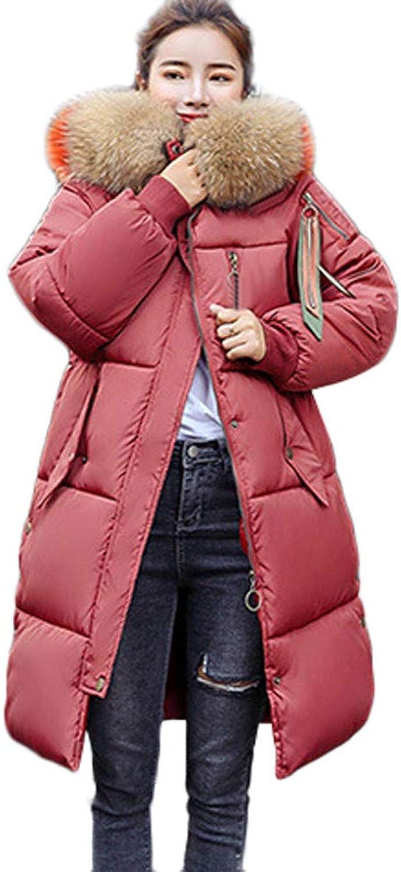 Kangma Women Winter Warm Faux Fur Hooded Thick Warm Slim Jacket Long Overcoat Outcoat