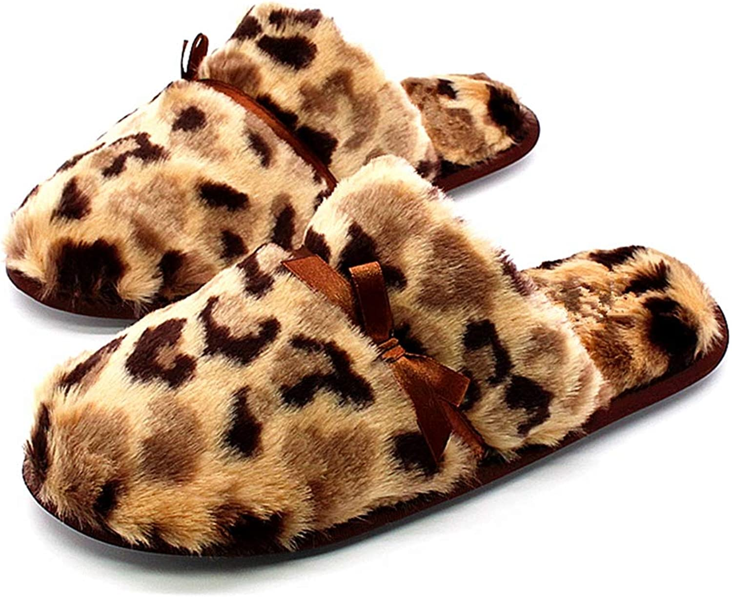 Zarbrina Winter Warm Indoor Home Slippers for Womens Fashion Ladies Plush Leopard Faux Fur Rubber House shoes