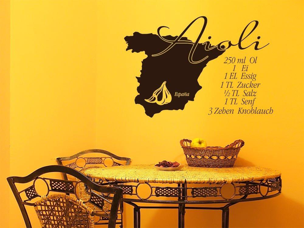 Tattoo pared vinilo decorativo pared pegatinas para cocina Receta alioli España ajos, metal, 070 negro, 73x50cm: Amazon.es: Hogar