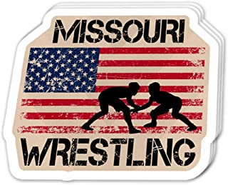 Uitee Store Cool Sticker (3 pcs/Pack, 3x4 inch) Missouri Wrestling American Flag Happy Independence Day 4th of July Perfect for Water Bottle,Laptop,Phone, Extra Durable Vinyl Decal