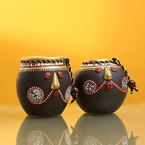 ExclusiveLane Tribal Pot Faces Home Decorative Terracotta Flower Pots (18.2 cm x 18.2 cm x 8.1 cm, Stone Black, Set of 2)