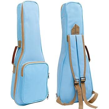 Zealux Housse de transport de haute qualité pour Ukulélé Bandoulière réglable de 10mm Plusieurs couleurs disponibles 21 in bleu clair