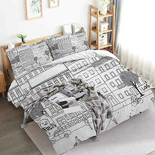 HouseLookHome German Duvet Cover Set Printed Monochrome Sketch of Berlin Square Hand Drawn Urban Scene with People Image 3D Pattern Bedding Set Black and White Full Duvet Cover Set