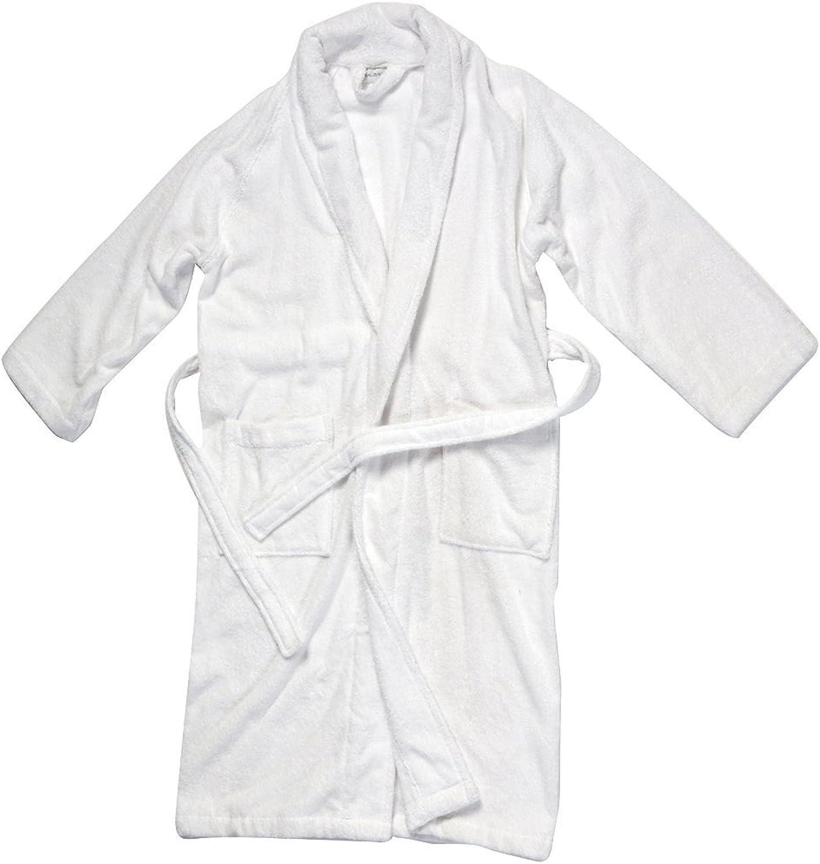 SALBAKOS Luxurious 100% Turkish Combed Cotton Terry Bathrobe, White, XLarge