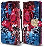 LG K40 Case, LG K12 Plus Case, LG X4 2019 Case, Premium PU Leather Flip Wallet Credit Card Cover Case Accessories (Wallet Butterfly)