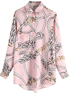 Unparalleled beauty Women's Casual Long Sleeve Button Down Shirt Chain Print Blouse Pink