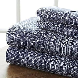 Linen Market 4 Piece Sheet Set Patterned, Queen, Polkadot Navy