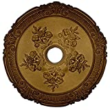 Ekena Millwork CM26ATPAS Attica with Rose Ceiling Medallion, 26'OD x 3 3/4'ID x 1 1/2'P (Fits Canopies up to 4 1/2'), Hand-Painted Pale Gold
