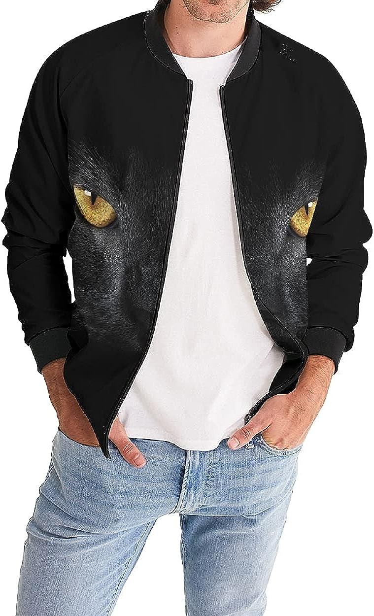 Men's Jacket-Lightweight Casual Spring Fall Thin Bomber Zip Pockets Coat Outwear