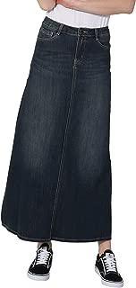 Long Denim Skirt - Vintage Wash Maxi Full Length Jean Skirt with Stretch