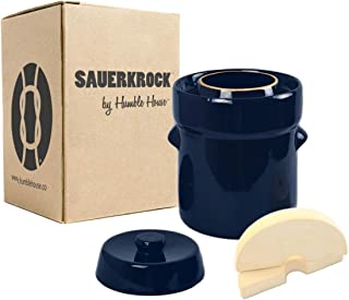 Humble House SAUERKROCK Fermentation Crock with Glazed Weights - 2 Liter (0.5 Gallon) German-Style Water Sealed Jar in Imperial Blue for Fermenting Sauerkaut, Kimchi, Pickles and More