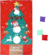 1 Set Christmas Sandbag Throwing Game Flag Children Toss Game and Banner for Christmas Party