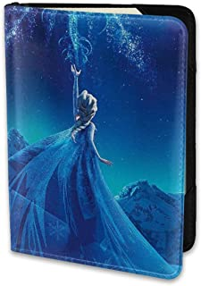 Passport Holder Cover Case Beauty Elsa Princess Leather Travel Wallet For Women And Men