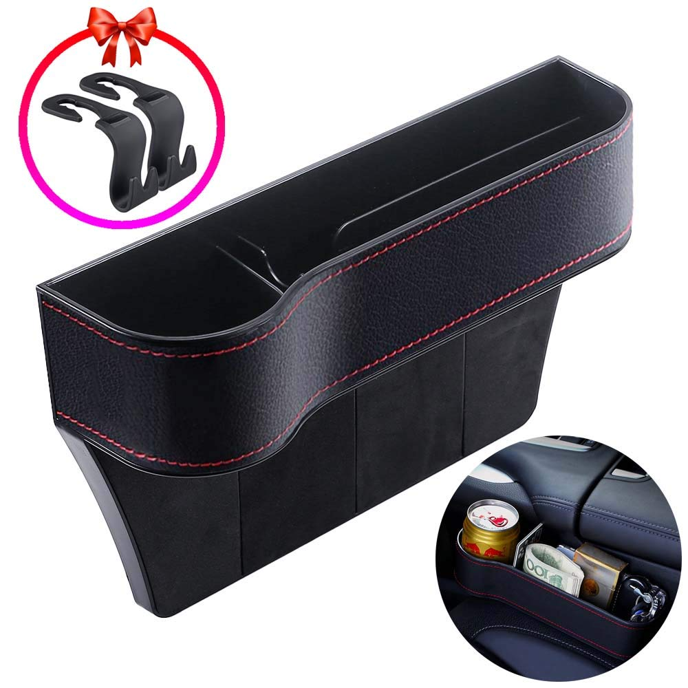 Driver Side /&Co-Driver Side 2 Pack PU Car Seat Storage with Cup Holder Wallets Car Seat Gap Filler Seat Console Side Pocket for Cellphones CAMTOA Car Seat Organizer Cards Sunglasses Keys