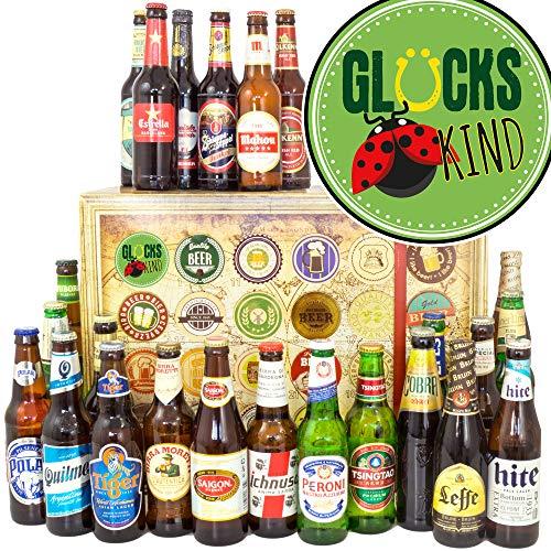 Glückskind + 24 Biere der Welt + Geschenk für Glückskind + Bier Adventskalender