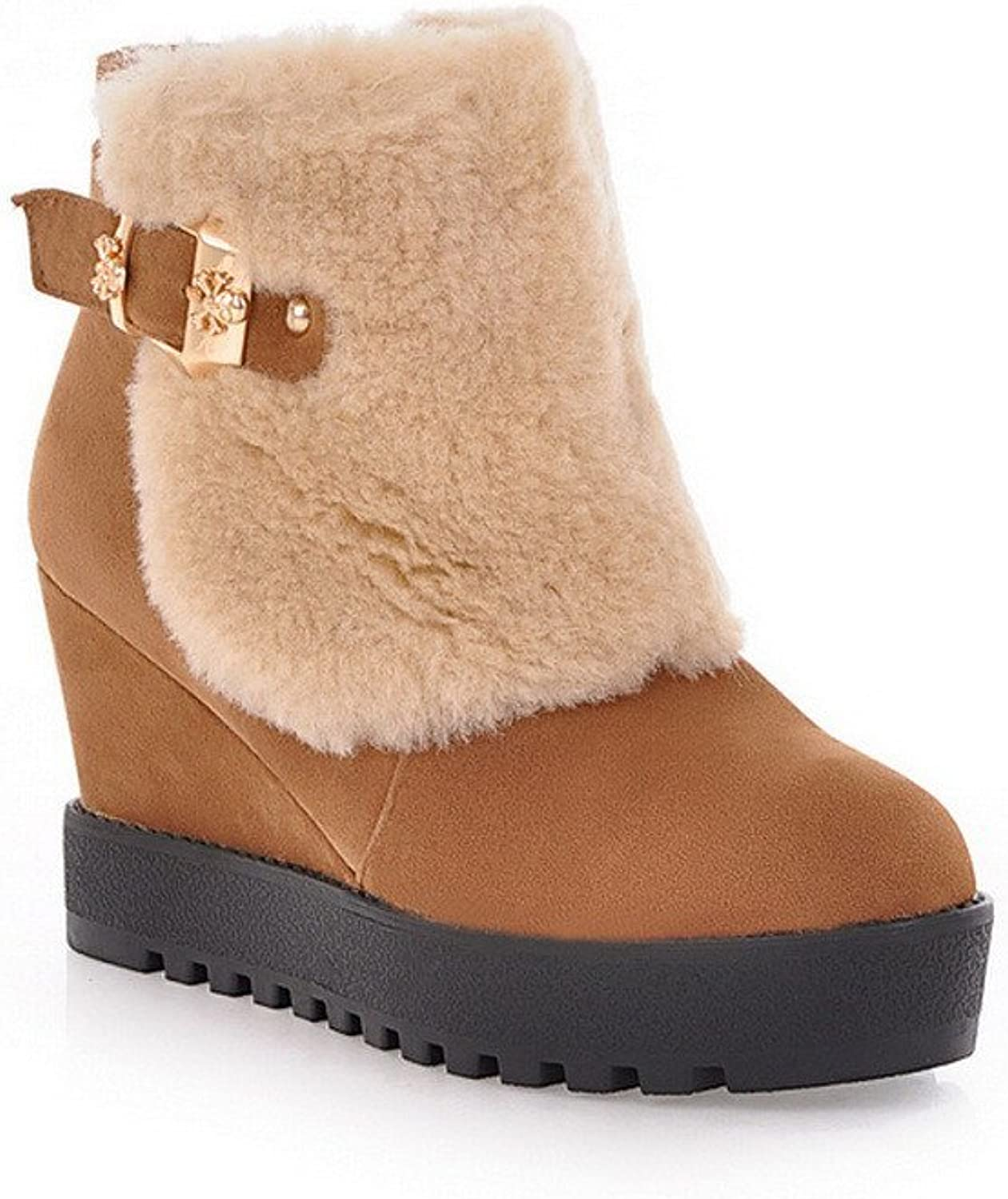 WeenFashion Women's Frosting Wool Lining Wedge colorant Match Ankle Snow Boots with Metal Buckles, True