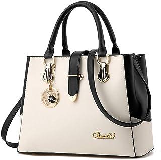 BestoU Damen Handtaschen Schwarz groß taschen Leder gross moderne damen handtasche schultertasche Frauen Umhängetasche (Weiß)
