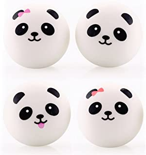 3.9'' Kawaii Cute Funny Mini Panda Squishy Bread Charms Strap For Bag Phone Decoration Car Keys Bun Toys Keychain (Pack of 4)