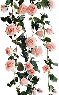 Kugusa バラ ガーランド 造花 シルク フラワー 装飾 インテリア スワッグ パーティー (ピンク)