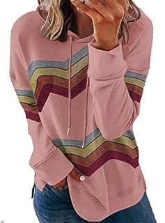 PKYGXZ Suéter con Capucha de Color de Contraste de Rayas de Manga Larga para Mujer Suéter Tops Jerséis Sudaderas con Capuc...