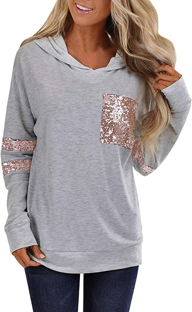 POTO Womens Pullover Hoodies Patchwork Tops Long Sleeve Sweatshirt Sequins Tee Shirts Casual Tops Blouse with Pocket