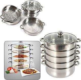 3 piani cottura a vapore in acciaio inox Multi Verdura Cucina Pan PENTOLA PENTOLE COPERCHIO IN VETRO