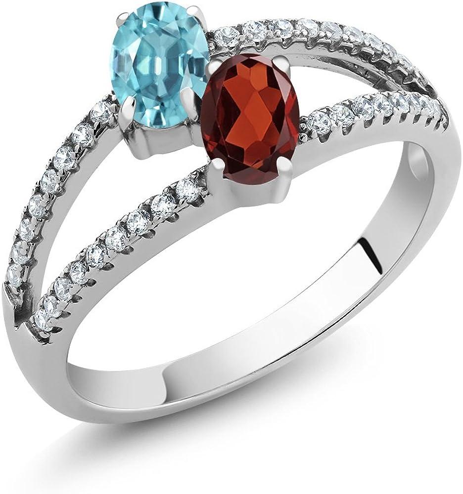 Gem 2021 Stone Sale price King 1.66 Ct Oval Zircon Red Garnet Blue 925 Sterling