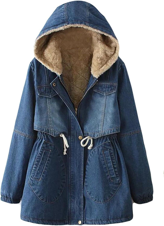 Alion Women Winter Zipper Drawstring Hooded Fleece Lined Denim Jacket Outwear
