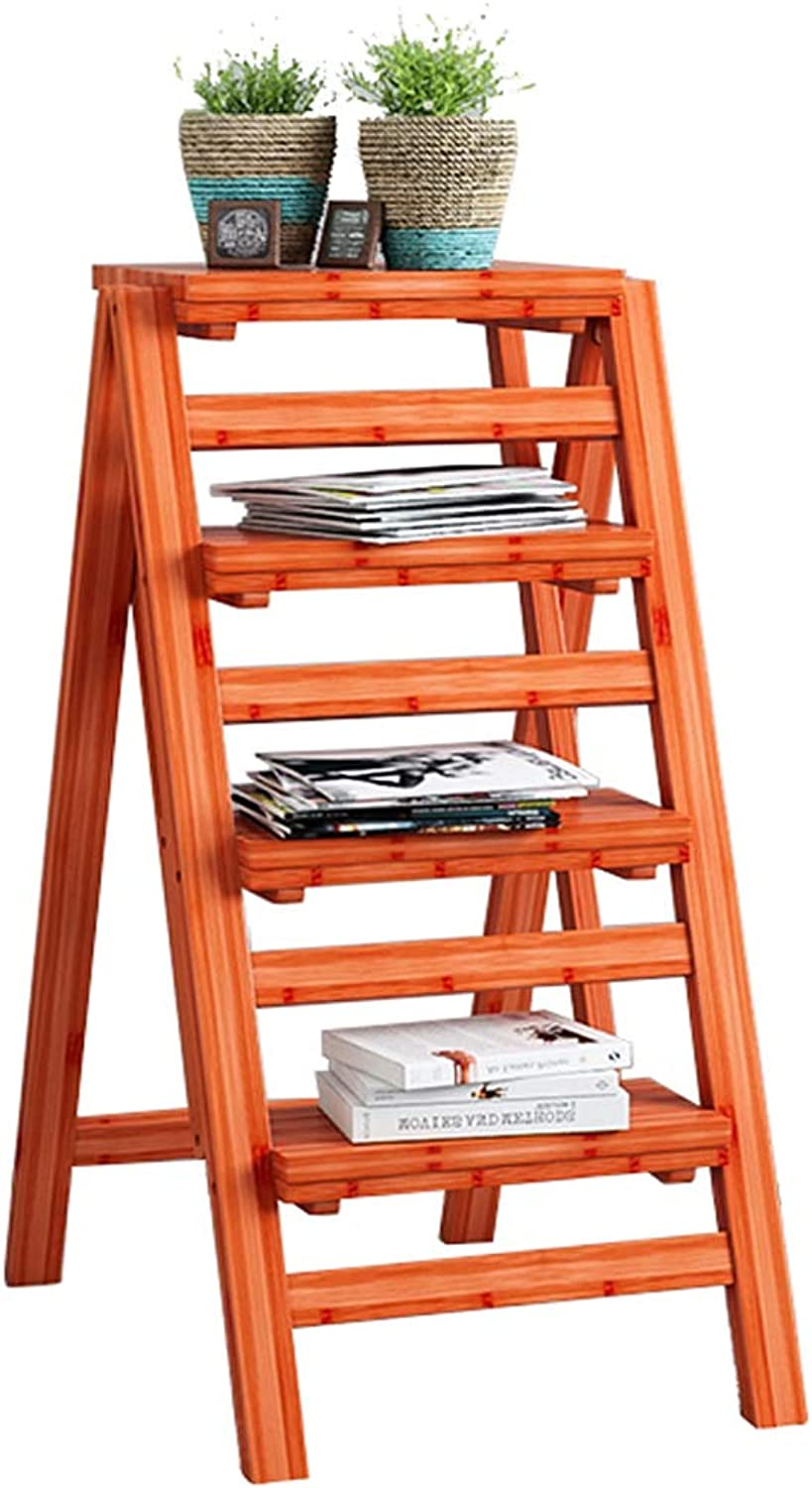 Folding Step Ladder Stool Bamboo Stepladders, 4 Steps, Solid Wood Flower Shelf Climb Ladder Stools or Garden Tool,Kitchen Office Library Stepladder