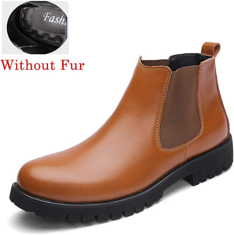 HANBINGPO Chelsea Boots Men Winter shoes Black Split Leather Boots Mens Footwear Warm Plush Fur Winter Boots for Men