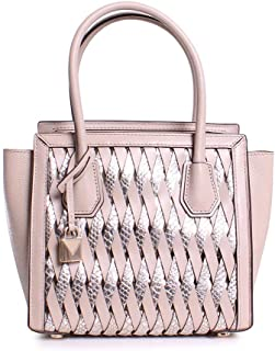 Michael Michael Kors Mercer Studio Embossed Metallic Leather Medium Woven Messenger Handbag in Oat Champagne