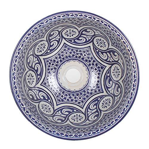 Mediterrane Keramik-Waschbecken Fes97 rund Ø 40 cm bunt Höhe 18 cm Handmade Waschschale | Marokkanische Handwaschbecken Aufsatzwaschbecken für Bad Waschtisch Gäste-WC | WB40307