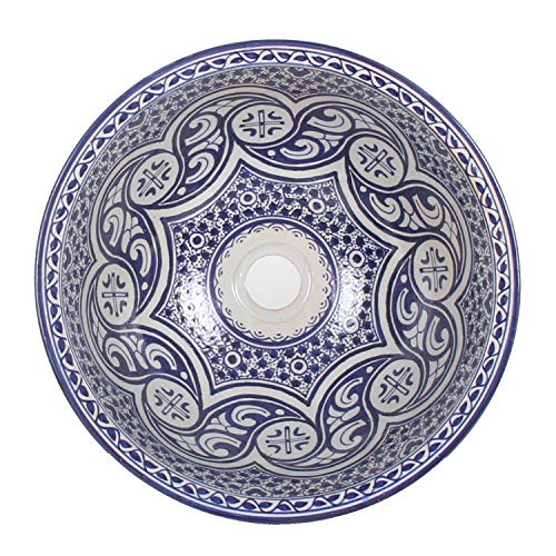 Mediterrane Keramik-Waschbecken Fes97 rund Ø 40 cm bunt Höhe 18 cm Handmade Waschschale   Marokkanische Handwaschbecken Aufsatzwaschbecken für Bad Waschtisch Gäste-WC   TOP Dekoration