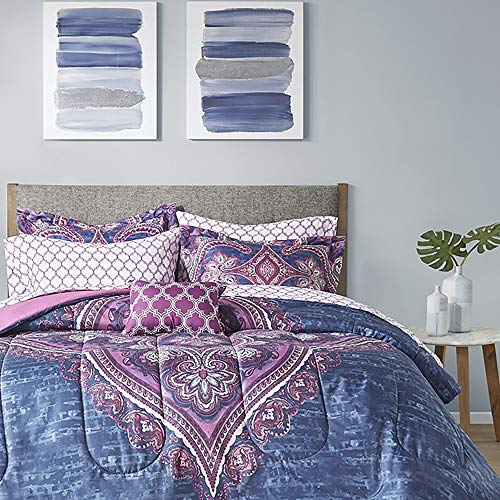 Comfort Spaces Kayla 8 Piece Bag Comforter Vibrant Bohemian Large Medallion Design, Toss Pillow Trendy All Season Bedding, Matching Sham, Complete Sheet Set, Queen, Purple