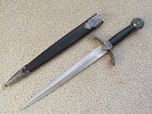 AIT Collectibles S0068 Antique Silver Celtic Medieval Knight Black Prince Sword Dagger 13.8'