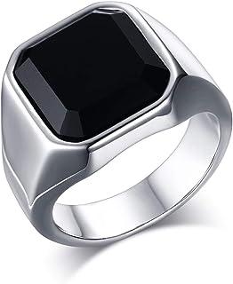 Anillo de compromiso para hombre, de acero inoxidable, ágata lisa, color negro y plateado, tamaño a elegir