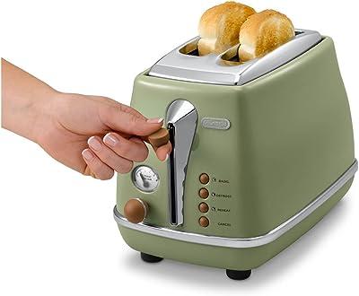 De'Longhi CTOV 2103.GR Icona Vintage Toaster, Green
