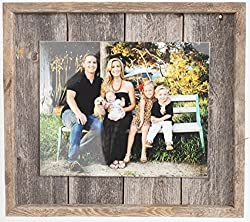 Rustic Farmhouse Plank Picture Frame - Our 8x10 Picture Frame can be Mounted Horizontally or Vertically and is Crafted from 100% Recycled and Reclaimed Wood
