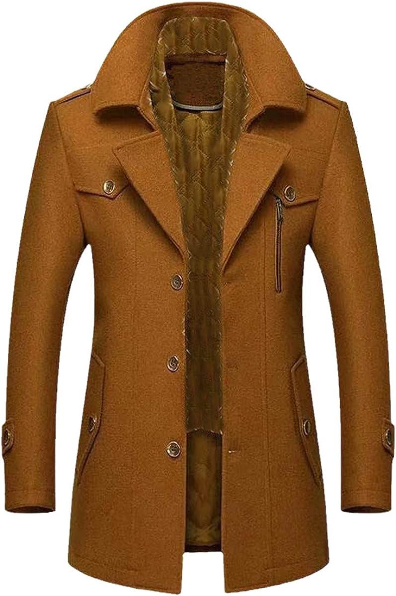 Winter Men's Wool Coat Fashion Mid-Length Scarf Collar Cotton Thick Warm Woolen Coat