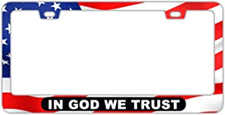 DZGlobal in GOD WE Trust License Plate Frame with American Flag Red- Personalized Text Printed Auto Car Tag Metal Aluminum Front of Car License Plates Covers for Women Men