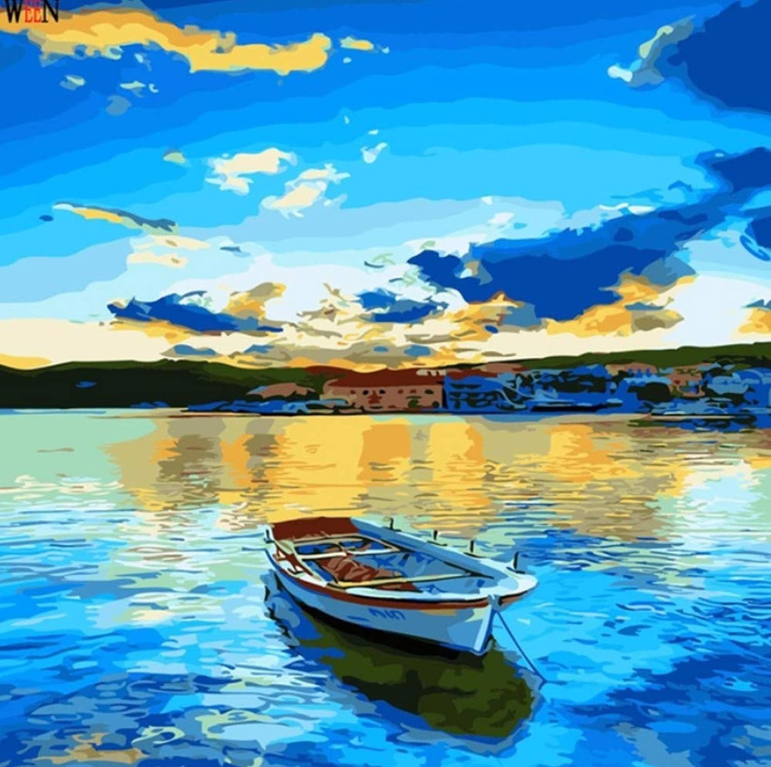 LIWEIXKY Lake Side Boat Oli Painting coloring By Numbers On Canvas Diy Hand Painted Abstract Oil Painting Gift, Framed, 50x60cm